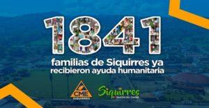 1841 familias de Siquirres ya recibieron ayuda humanitaria